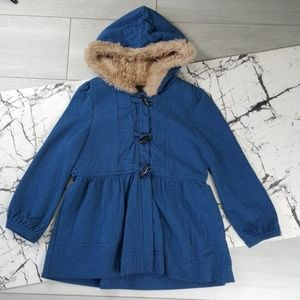 Marc Jacobs Blue Zip Hooded Peacoat Size Medium